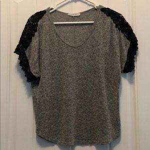 Heather Gray Top With Black Crochet Details